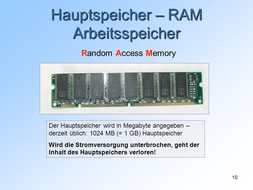 10 Hauptspeicher – RAM Arbeitsspeicher Random Access Memory Der Hauptspeicher wird in Megabyte angegeben – derzeit üblich: 1024 MB (= 1 GB) Hauptspeic