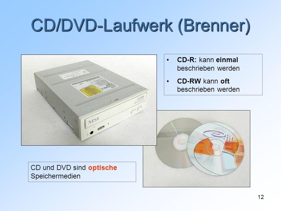 12 CD/DVD-Laufwerk (Brenner) CD und DVD sind optische Speichermedien CD-R: kann einmal beschrieben werden CD-RW kann oft beschrieben werden
