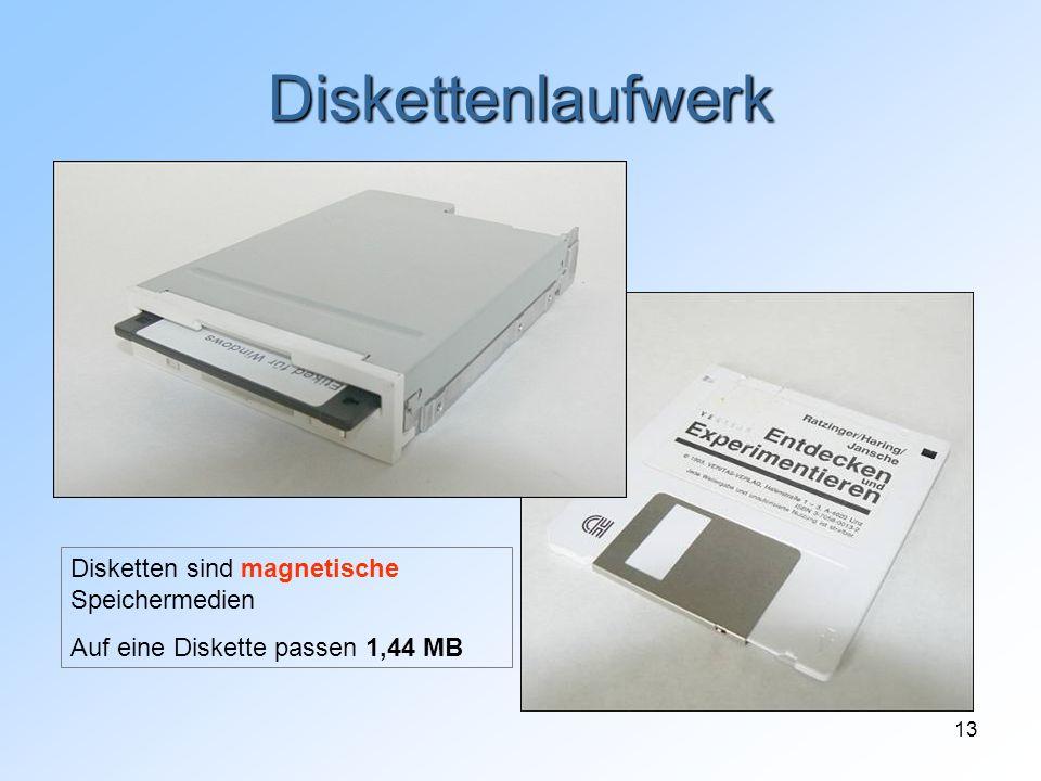 13 Diskettenlaufwerk Disketten sind magnetische Speichermedien Auf eine Diskette passen 1,44 MB