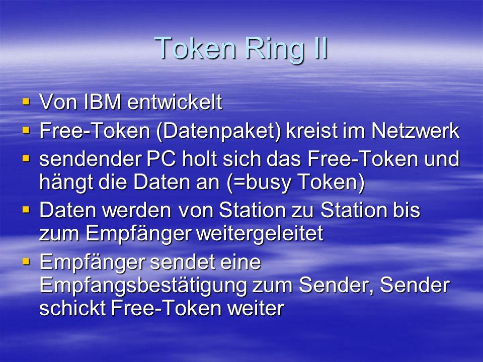 Token Ring II Von IBM entwickelt Von IBM entwickelt Free-Token (Datenpaket) kreist im Netzwerk Free-Token (Datenpaket) kreist im Netzwerk sendender PC