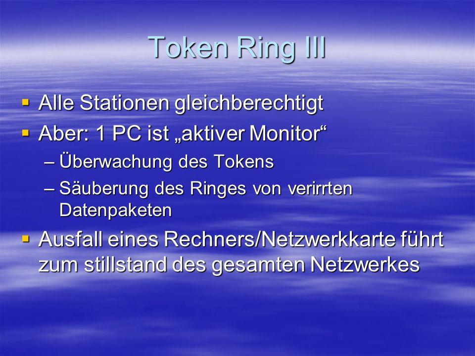 Token Ring III Alle Stationen gleichberechtigt Alle Stationen gleichberechtigt Aber: 1 PC ist aktiver Monitor Aber: 1 PC ist aktiver Monitor –Überwachung des Tokens –Säuberung des Ringes von verirrten Datenpaketen Ausfall eines Rechners/Netzwerkkarte führt zum stillstand des gesamten Netzwerkes Ausfall eines Rechners/Netzwerkkarte führt zum stillstand des gesamten Netzwerkes