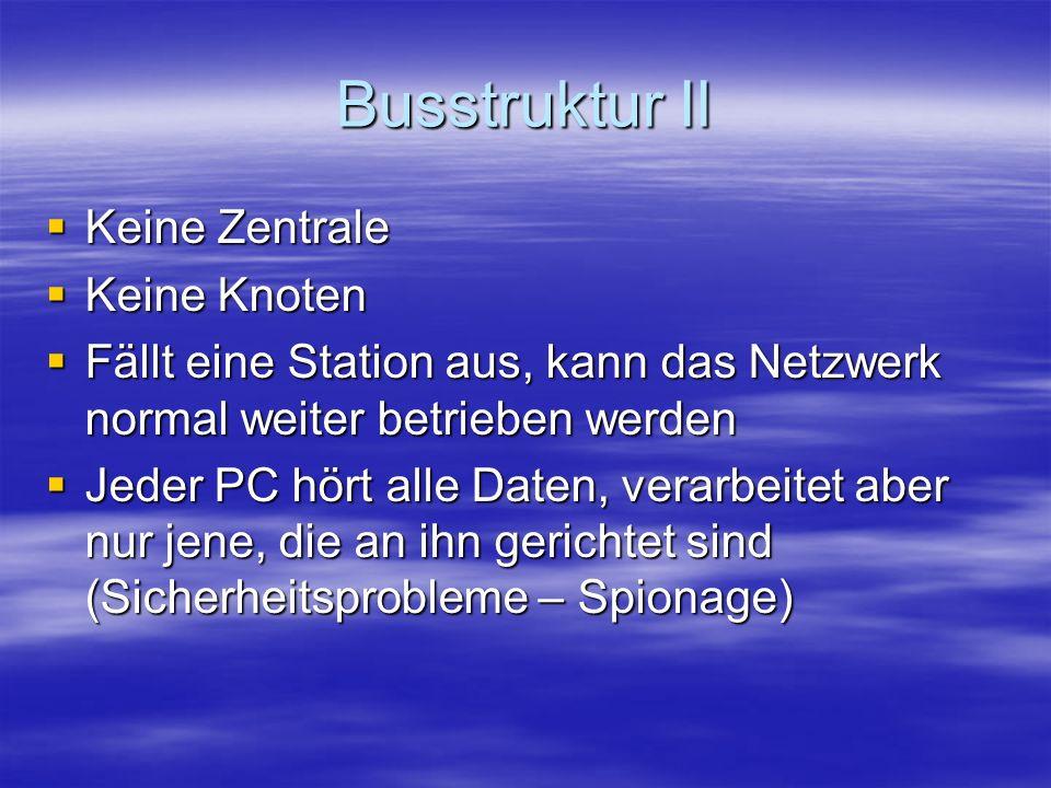 Busstruktur II Keine Zentrale Keine Zentrale Keine Knoten Keine Knoten Fällt eine Station aus, kann das Netzwerk normal weiter betrieben werden Fällt eine Station aus, kann das Netzwerk normal weiter betrieben werden Jeder PC hört alle Daten, verarbeitet aber nur jene, die an ihn gerichtet sind (Sicherheitsprobleme – Spionage) Jeder PC hört alle Daten, verarbeitet aber nur jene, die an ihn gerichtet sind (Sicherheitsprobleme – Spionage)