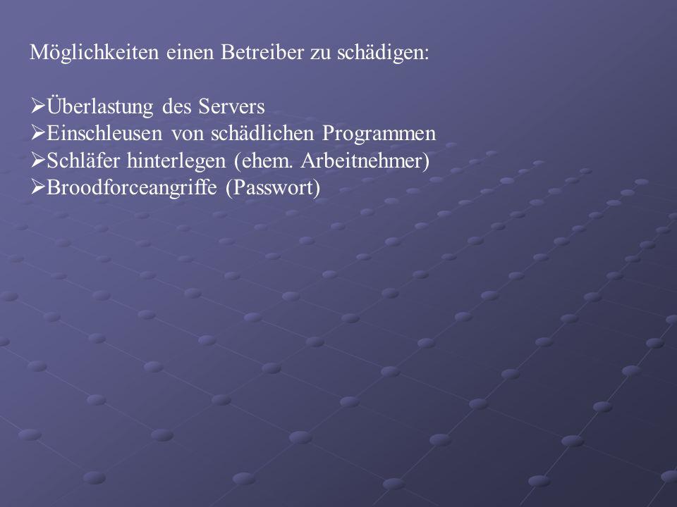 Möglichkeiten einen Betreiber zu schädigen: Überlastung des Servers Einschleusen von schädlichen Programmen Schläfer hinterlegen (ehem. Arbeitnehmer)