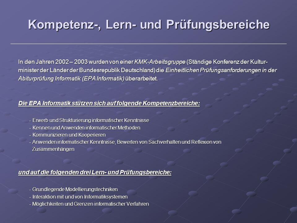 Kompetenz-, Lern- und Prüfungsbereiche In den Jahren 2002 – 2003 wurden von einer KMK-Arbeitsgruppe (Ständige Konferenz der Kultur- minister der Lände
