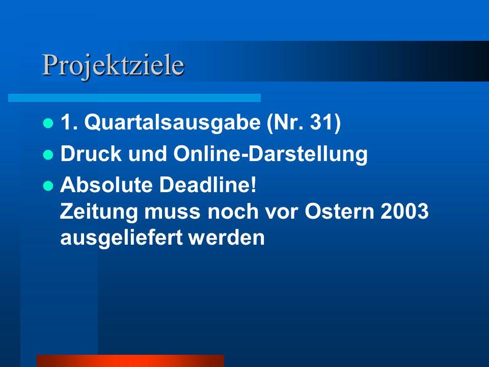 Projektziele 1. Quartalsausgabe (Nr. 31) Druck und Online-Darstellung Absolute Deadline! Zeitung muss noch vor Ostern 2003 ausgeliefert werden