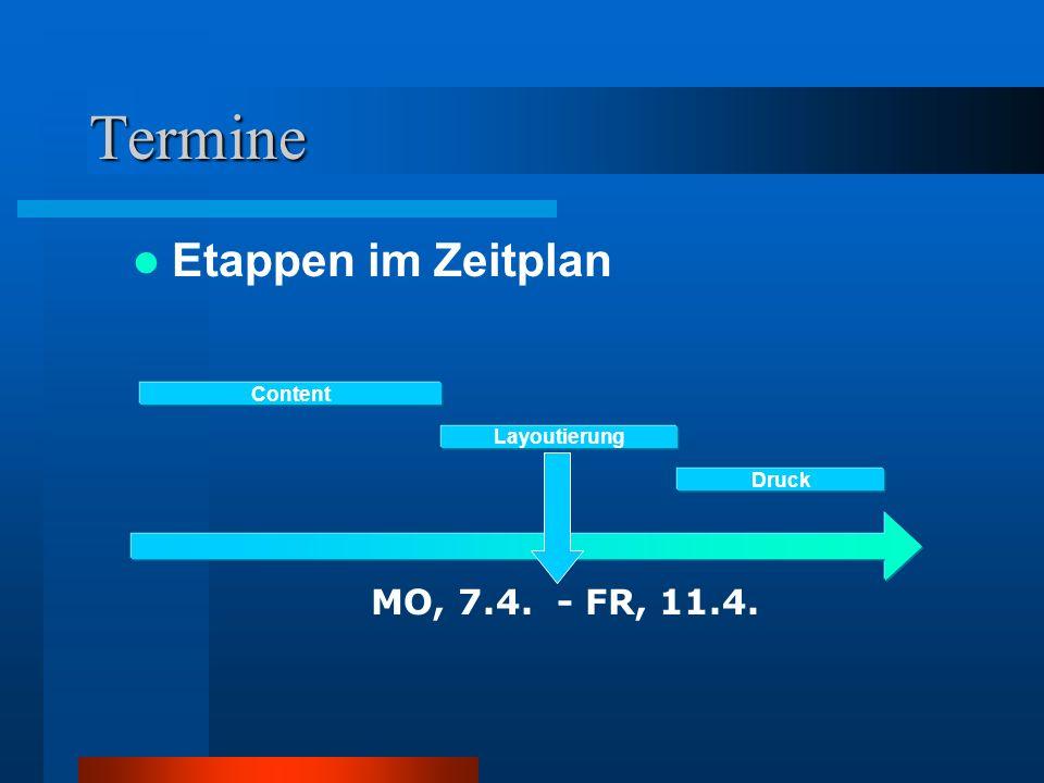 Termine Etappen im Zeitplan Content Layoutierung Druck MO, 7.4. - FR, 11.4.