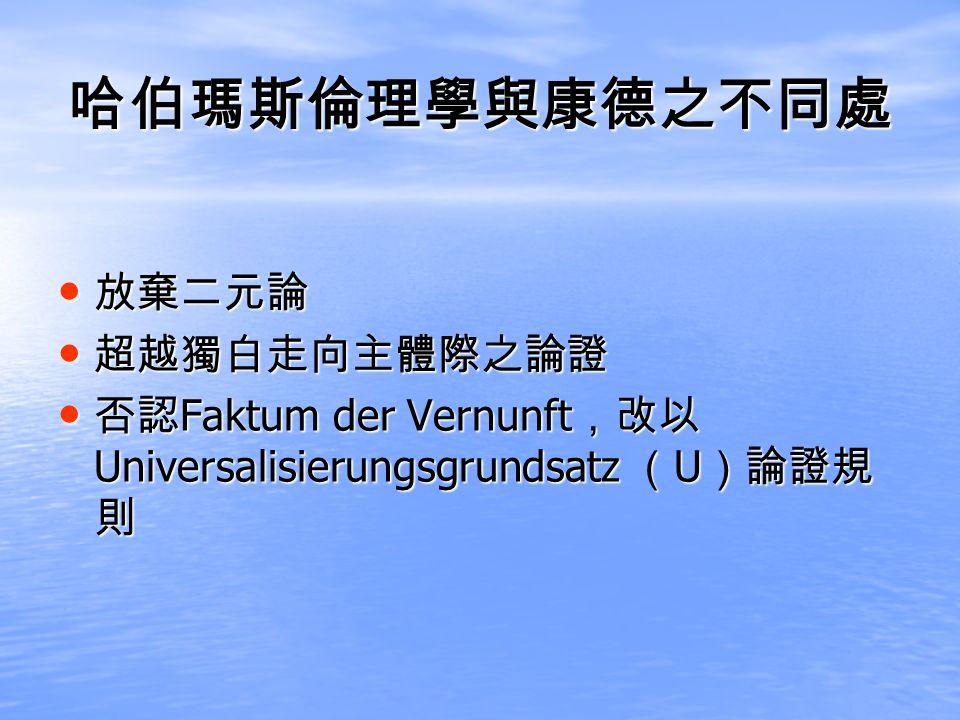 Faktum der Vernunft Universalisierungsgrundsatz U Faktum der Vernunft Universalisierungsgrundsatz U