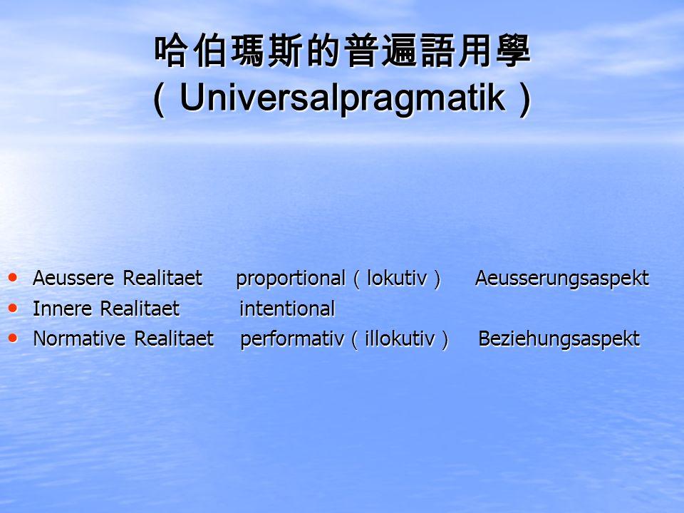 Universalpragmatik Universalpragmatik Aeussere Realitaet proportional lokutiv Aeusserungsaspekt Aeussere Realitaet proportional lokutiv Aeusserungsasp
