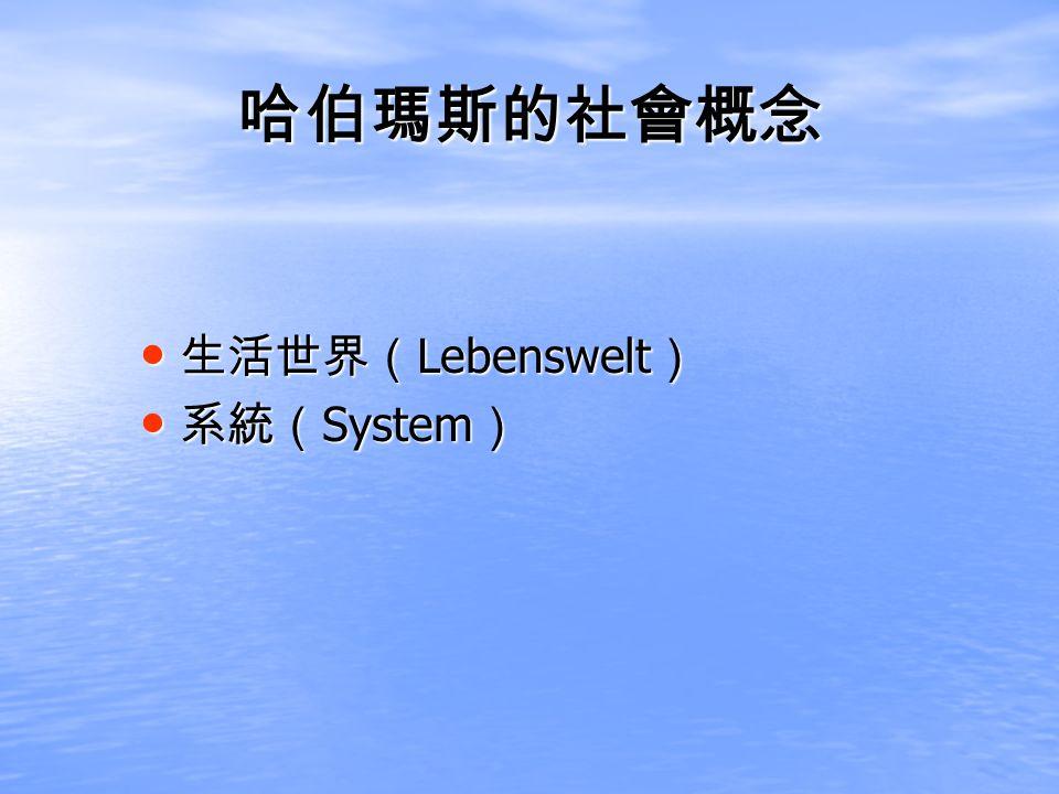 Lebenswelt Lebenswelt System System