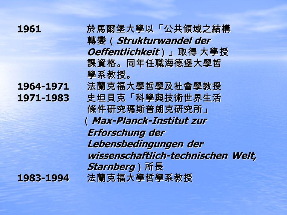 1961 1961 Strukturwandel der Strukturwandel der Oeffentlichkeit Oeffentlichkeit 1964-1971 1964-1971 1971-1983 1971-1983 Max-Planck-Institut zur Max-Pl