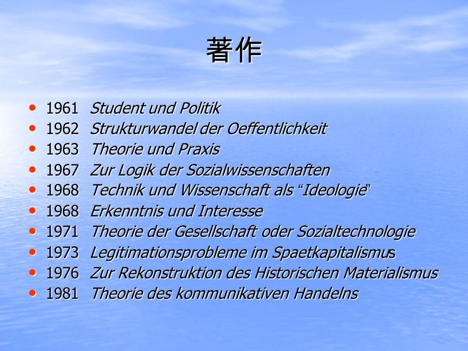 1961 Student und Politik 1961 Student und Politik 1962 Strukturwandel der Oeffentlichkeit 1962 Strukturwandel der Oeffentlichkeit 1963 Theorie und Pra
