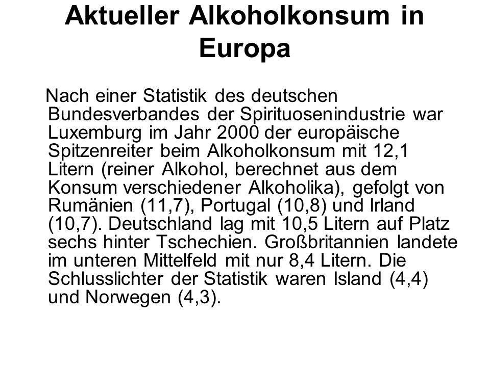 Aktueller Alkoholkonsum in Europa Nach einer Statistik des deutschen Bundesverbandes der Spirituosenindustrie war Luxemburg im Jahr 2000 der europäisc