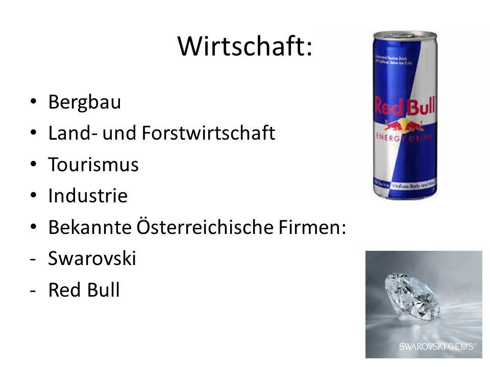 Wirtschaft: Bergbau Land- und Forstwirtschaft Tourismus Industrie Bekannte Österreichische Firmen: -Swarovski -Red Bull