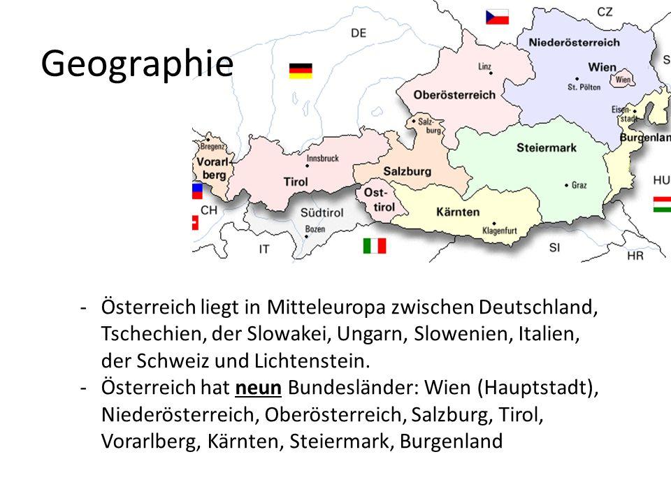 Geographie -Österreich liegt in Mitteleuropa zwischen Deutschland, Tschechien, der Slowakei, Ungarn, Slowenien, Italien, der Schweiz und Lichtenstein.