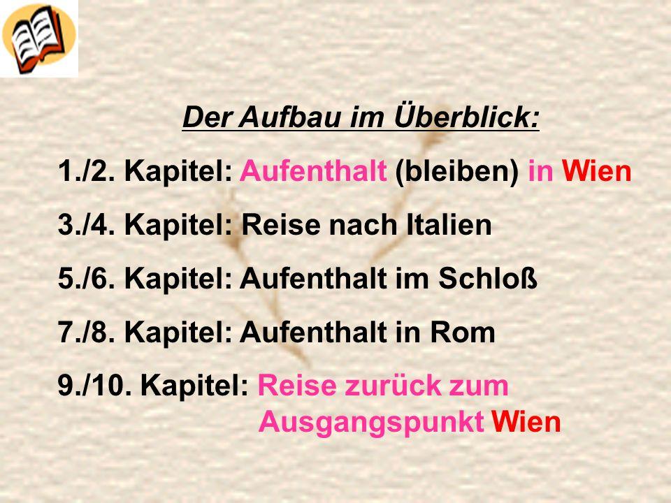 Der Aufbau im Überblick: 1./2. Kapitel: Aufenthalt (bleiben) in Wien 3./4. Kapitel: Reise nach Italien 5./6. Kapitel: Aufenthalt im Schloß 7./8. Kapit