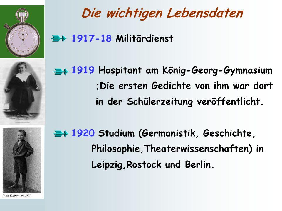 Die wichtigen Lebensdaten 1917-18 Militärdienst 1919 Hospitant am König-Georg-Gymnasium ;Die ersten Gedichte von ihm war dort in der Schülerzeitung ve