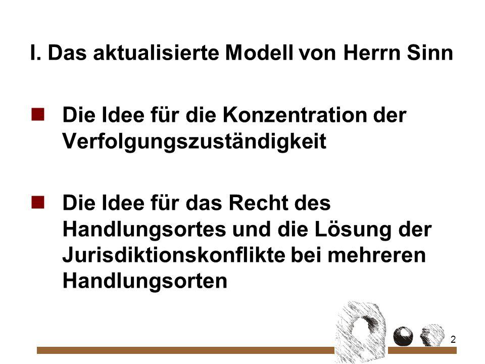 2 I. Das aktualisierte Modell von Herrn Sinn Die Idee für die Konzentration der Verfolgungszuständigkeit Die Idee für das Recht des Handlungsortes und