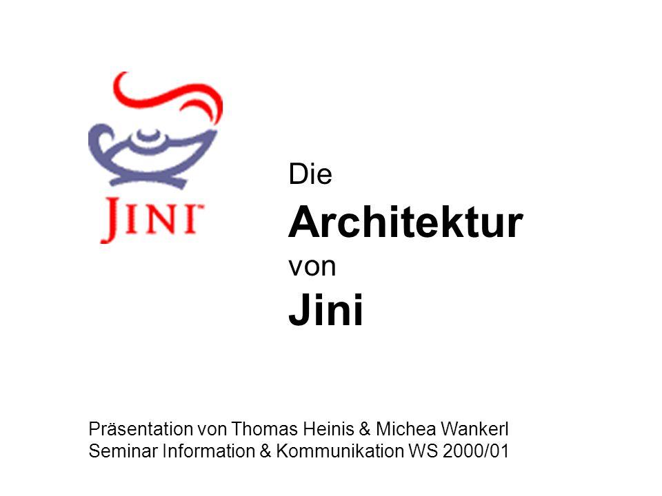 Die Architektur von Jini Präsentation von Thomas Heinis & Michea Wankerl Seminar Information & Kommunikation WS 2000/01