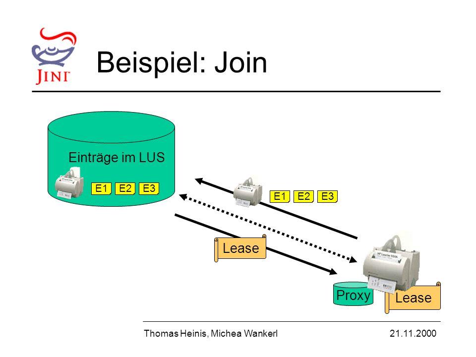Proxy Lease Beispiel: Join Thomas Heinis, Michea Wankerl21.11.2000 E1E2E3 E1E2E3 Lease Einträge im LUS