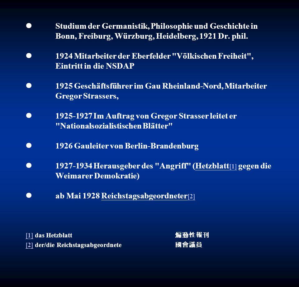 November 1928 Übernahme [3] der Parteipropaganda 1929 zum Reichspropagandaleiter der NSDAP ernannt 1932 Reden zum Wahlkampf der NSDAP am 13.