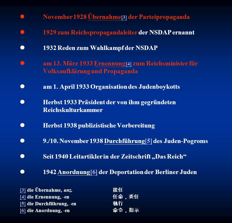 November 1928 Übernahme [3] der Parteipropaganda 1929 zum Reichspropagandaleiter der NSDAP ernannt 1932 Reden zum Wahlkampf der NSDAP am 13. März 1933