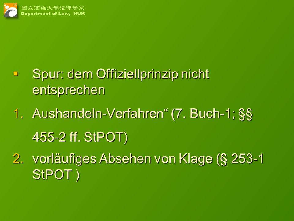 20 Spur: dem Offiziellprinzip nicht entsprechen Spur: dem Offiziellprinzip nicht entsprechen 1.Aushandeln-Verfahren (7. Buch-1; §§ 455-2 ff. StPOT) 2.