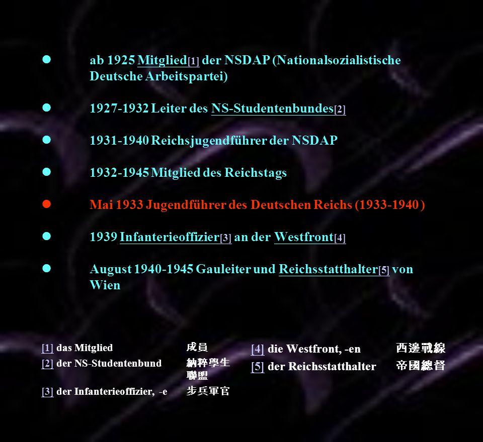 ab 1925 Mitglied [1] der NSDAP (Nationalsozialistische Deutsche Arbeitspartei) 1927-1932 Leiter des NS-Studentenbundes [2] 1931-1940 Reichsjugendführe