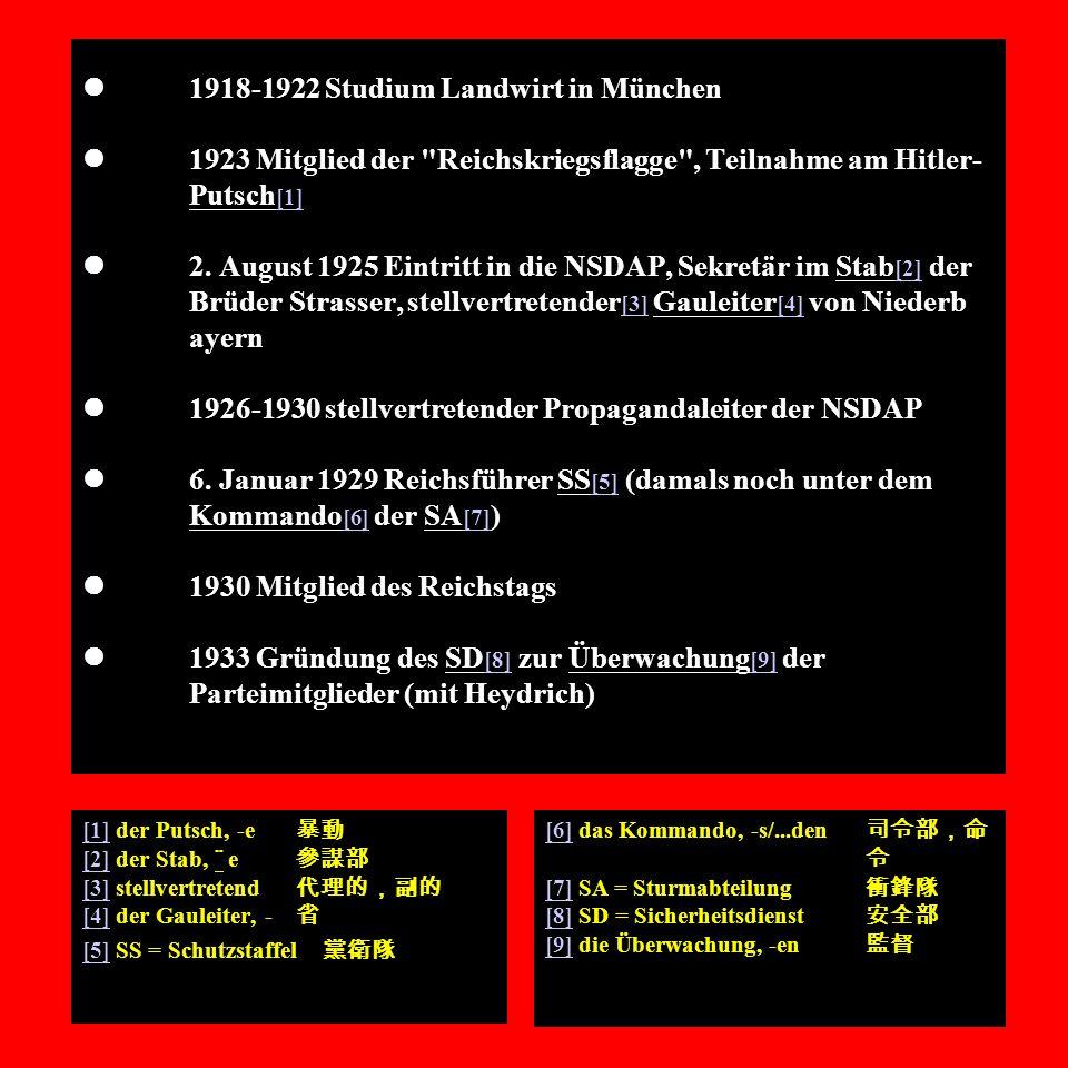 1918-1922 Studium Landwirt in München 1923 Mitglied der