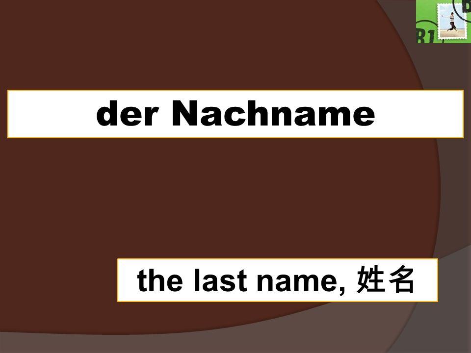 der Nachname the last name,