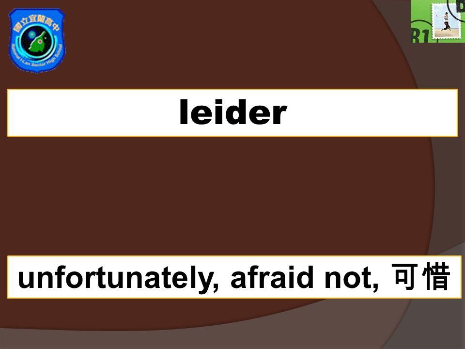 leider unfortunately, afraid not,