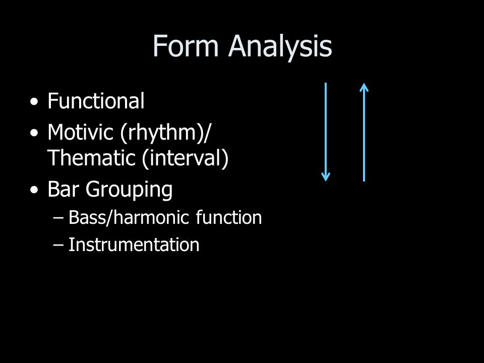 Form Analysis Functional Motivic (rhythm)/ Thematic (interval) Bar Grouping –Bass/harmonic function –Instrumentation