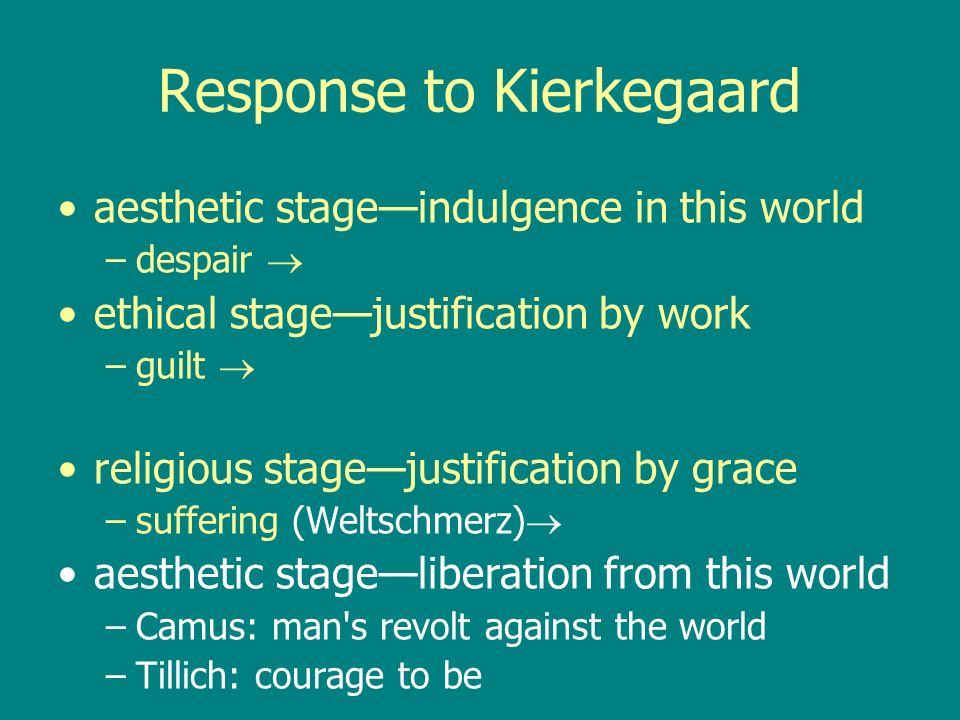 Response to Kierkegaard aesthetic stageindulgence in this world –despair ethical stagejustification by work –guilt religious stagejustification by grace –suffering (Weltschmerz) aesthetic stageliberation from this world –Camus: man s revolt against the world –Tillich: courage to be
