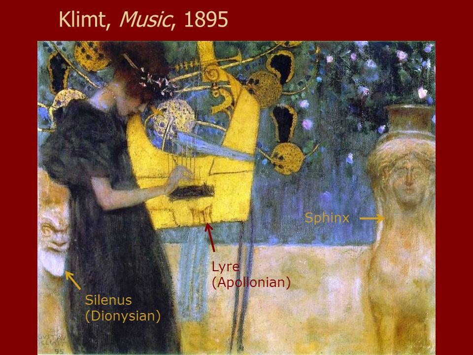 Klimt, Music, 1895 Sphinx Silenus (Dionysian) Lyre (Apollonian)