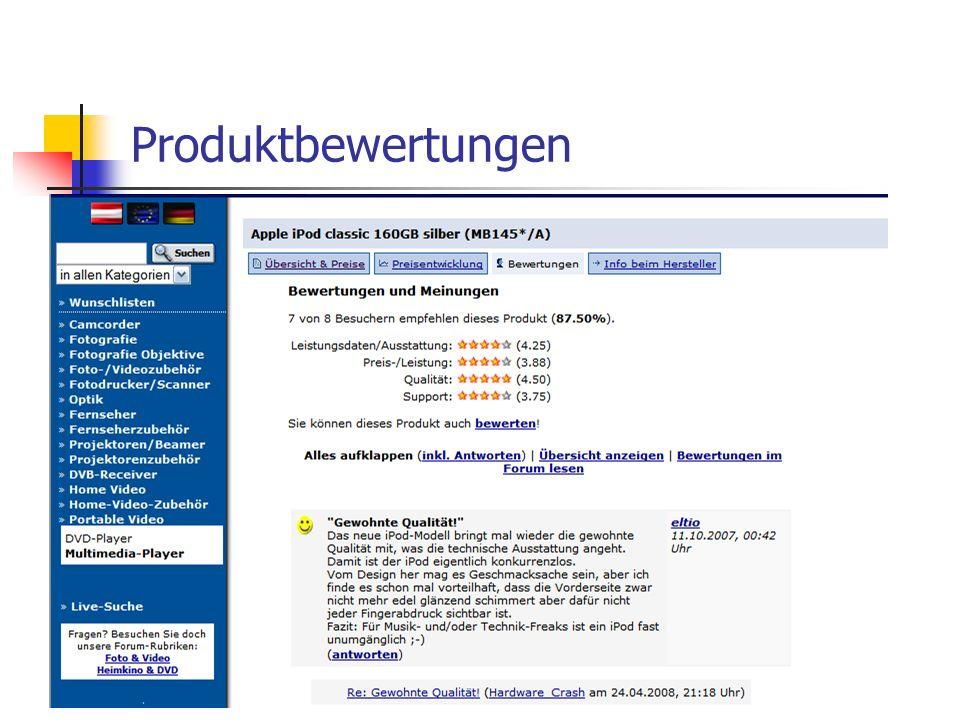 Datenstruktur für meine Arbeit Produkt: Produkt_id, Name, Kategorie, Sub-Sub-Kategorie Produktbewertung: Produkt_id, User_IP, Leistungsdaten/Ausstattung, Preis-/Leistung, Qualität, Support Angebot: Händler_id, Produkt_id, Preis Klicks: Produkt_id, User_IP, Anzahl der Klicks Vereinfachte Darstellung der für meine Arbeit wichtigen Relationen.