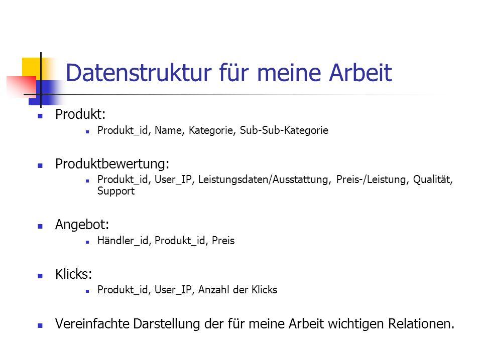 Datenstruktur für meine Arbeit Produkt: Produkt_id, Name, Kategorie, Sub-Sub-Kategorie Produktbewertung: Produkt_id, User_IP, Leistungsdaten/Ausstattu