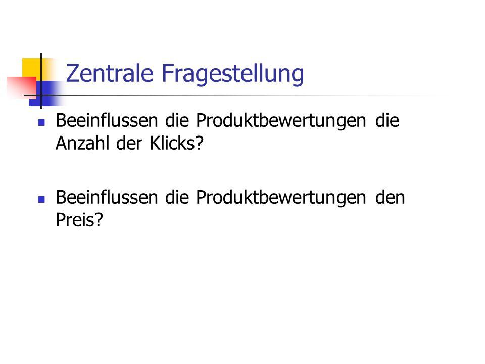 Zentrale Fragestellung Beeinflussen die Produktbewertungen die Anzahl der Klicks? Beeinflussen die Produktbewertungen den Preis?