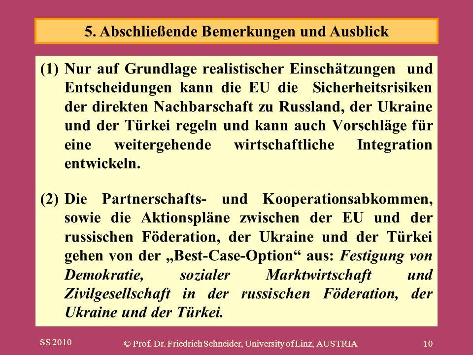 SS 2010 © Prof. Dr. Friedrich Schneider, University of Linz, AUSTRIA10 (1)Nur auf Grundlage realistischer Einschätzungen und Entscheidungen kann die E