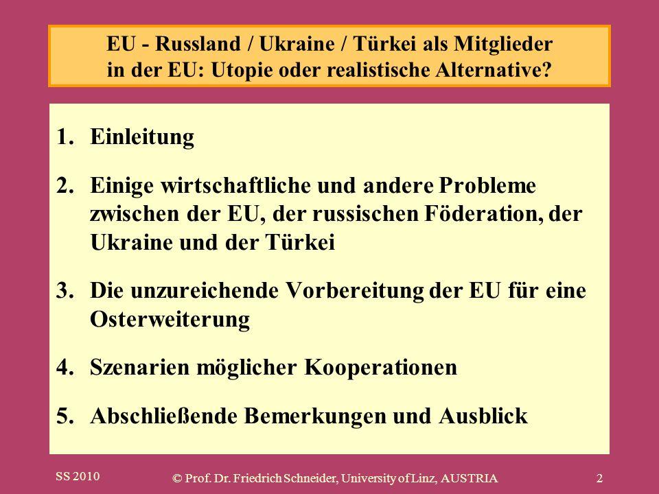 SS 2010 © Prof. Dr. Friedrich Schneider, University of Linz, AUSTRIA2 1.Einleitung 2.Einige wirtschaftliche und andere Probleme zwischen der EU, der r