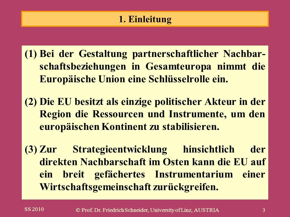 SS 2010 © Prof. Dr. Friedrich Schneider, University of Linz, AUSTRIA3 (1)Bei der Gestaltung partnerschaftlicher Nachbar- schaftsbeziehungen in Gesamte