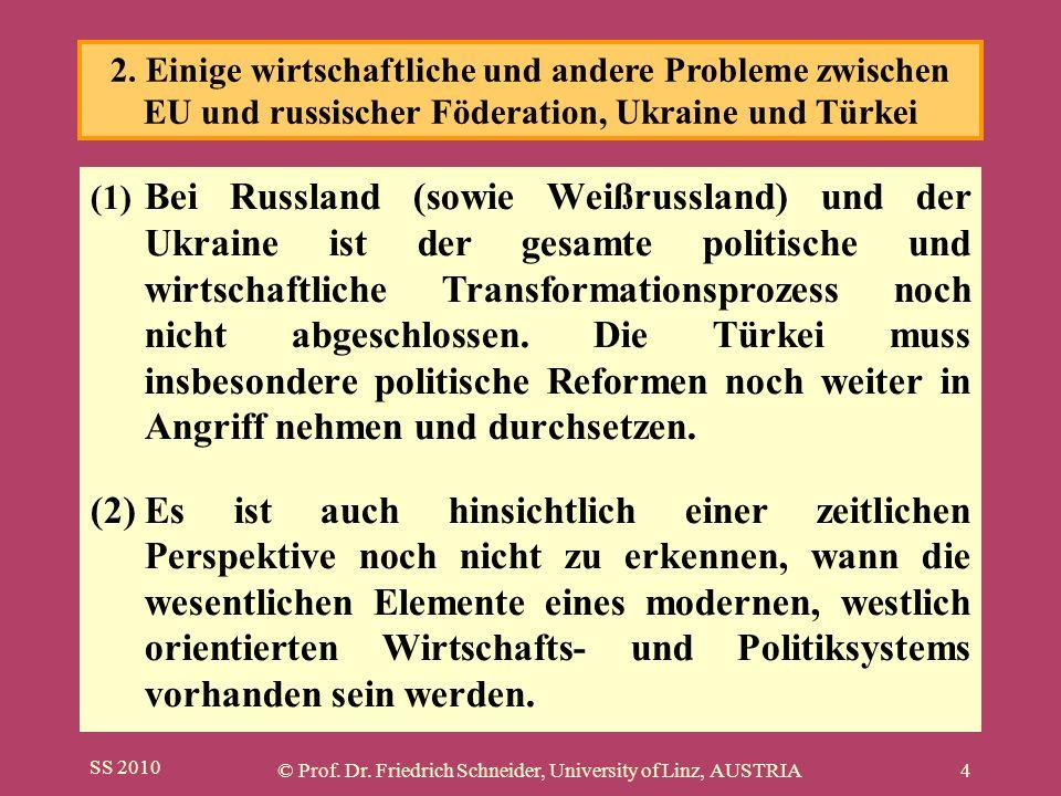 SS 2010 © Prof. Dr. Friedrich Schneider, University of Linz, AUSTRIA4 (1) Bei Russland (sowie Weißrussland) und der Ukraine ist der gesamte politische