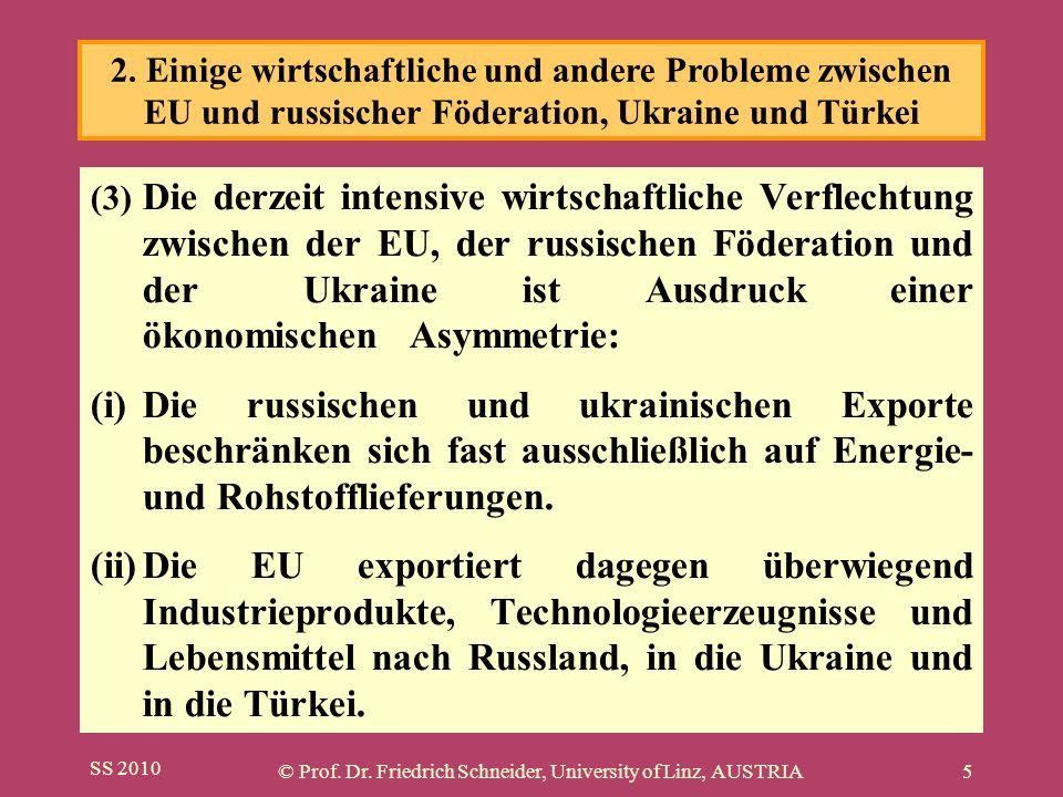 SS 2010 © Prof. Dr. Friedrich Schneider, University of Linz, AUSTRIA5 (3) Die derzeit intensive wirtschaftliche Verflechtung zwischen der EU, der russ