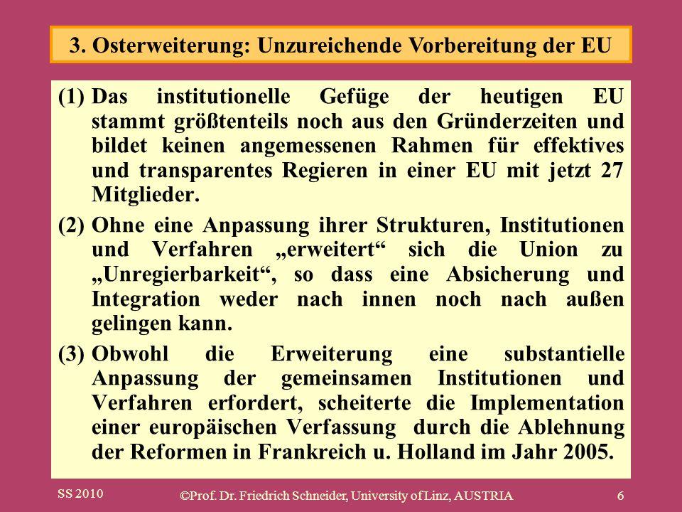 SS 2010 ©Prof. Dr. Friedrich Schneider, University of Linz, AUSTRIA6 (1)Das institutionelle Gefüge der heutigen EU stammt größtenteils noch aus den Gr