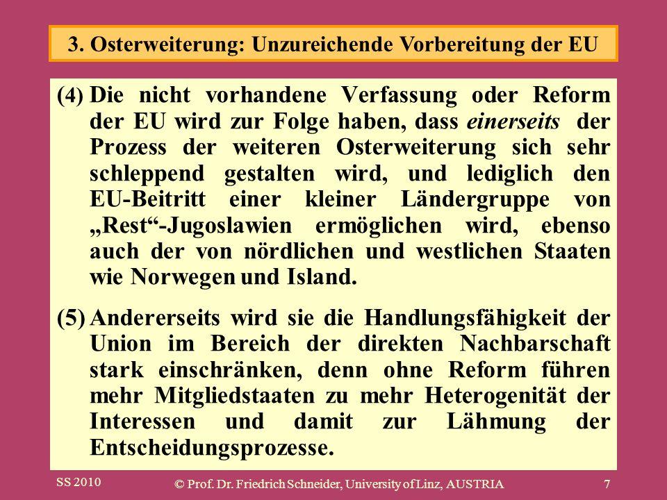 SS 2010 © Prof. Dr. Friedrich Schneider, University of Linz, AUSTRIA7 ( 4) Die nicht vorhandene Verfassung oder Reform der EU wird zur Folge haben, da