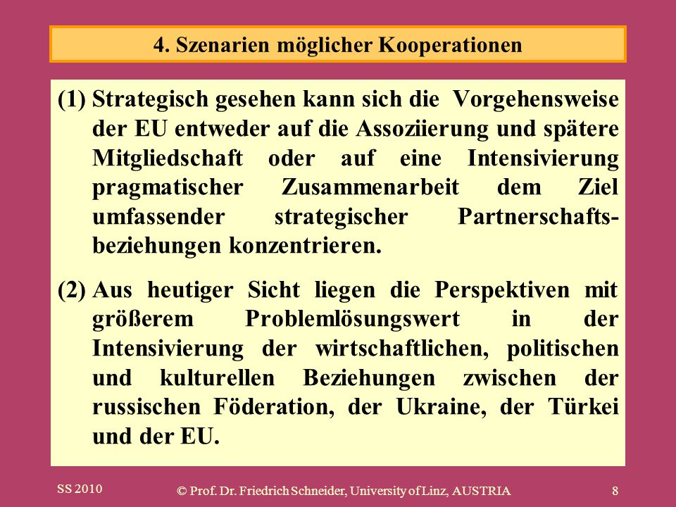 SS 2010 © Prof. Dr. Friedrich Schneider, University of Linz, AUSTRIA8 (1)Strategisch gesehen kann sich die Vorgehensweise der EU entweder auf die Asso