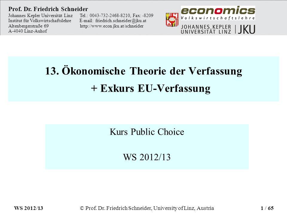 13. Ökonomische Theorie der Verfassung + Exkurs EU-Verfassung Kurs Public Choice WS 2012/13 Prof. Dr. Friedrich Schneider Johannes Kepler Universität