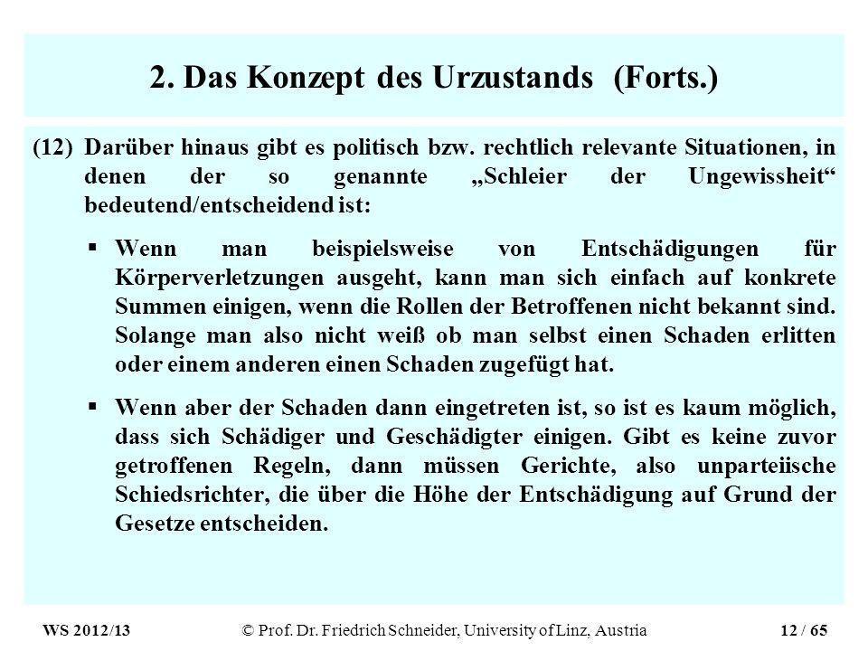 2. Das Konzept des Urzustands (Forts.) (12)Darüber hinaus gibt es politisch bzw. rechtlich relevante Situationen, in denen der so genannte Schleier de