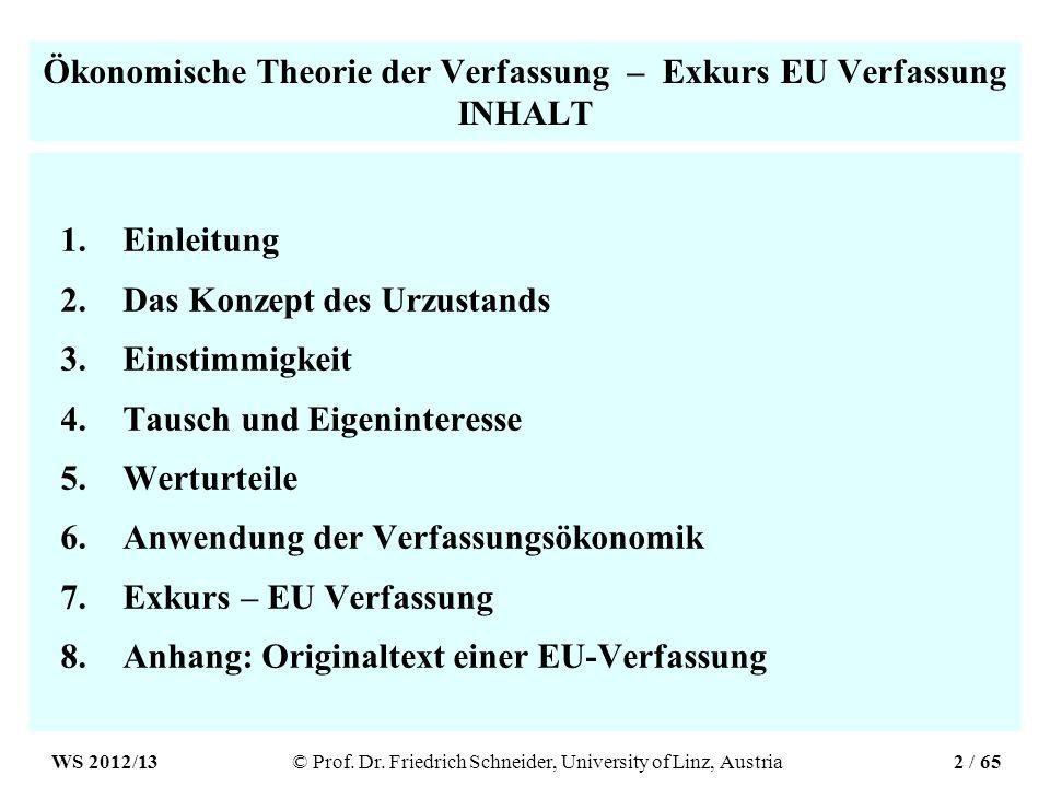 Ökonomische Theorie der Verfassung – Exkurs EU Verfassung INHALT 1.Einleitung 2.Das Konzept des Urzustands 3.Einstimmigkeit 4.Tausch und Eigeninteress