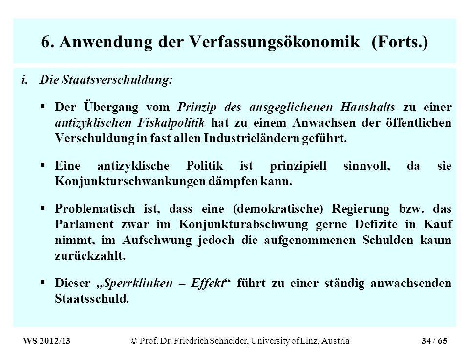 6. Anwendung der Verfassungsökonomik (Forts.) i.Die Staatsverschuldung: Der Übergang vom Prinzip des ausgeglichenen Haushalts zu einer antizyklischen