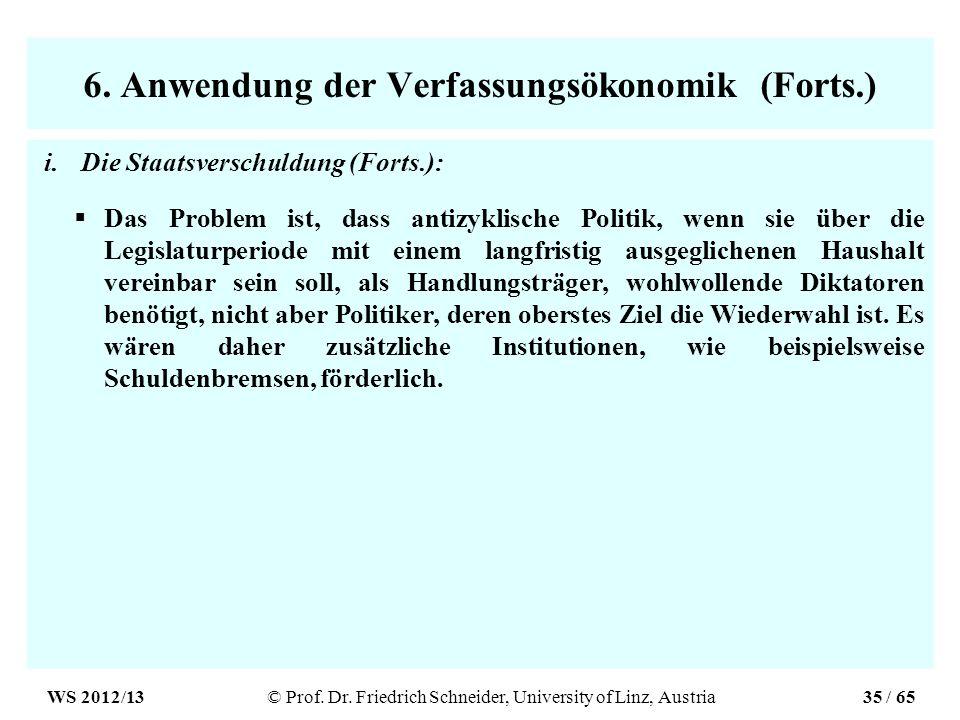 6. Anwendung der Verfassungsökonomik (Forts.) i.Die Staatsverschuldung (Forts.): Das Problem ist, dass antizyklische Politik, wenn sie über die Legisl