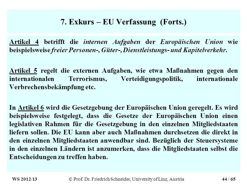 7. Exkurs – EU Verfassung (Forts.) Artikel 4 betrifft die internen Aufgaben der Europäischen Union wie beispielsweise freier Personen-, Güter-, Dienst